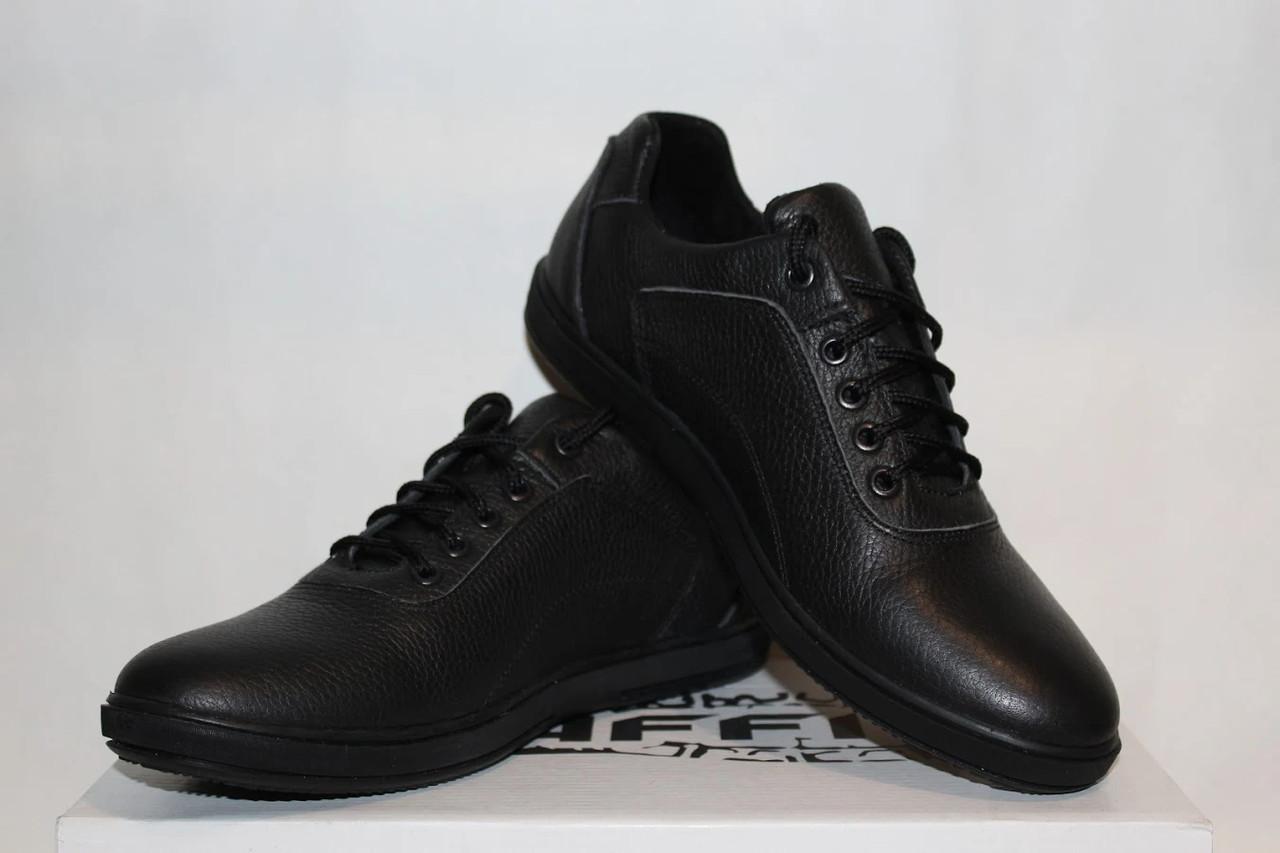 Туфли мужские кожаные 40-45 Traffic арт 316 черные флотар.