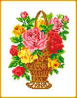 "Схема для вышивки крестом на канве Аида №13 ""Корзина с розами"""