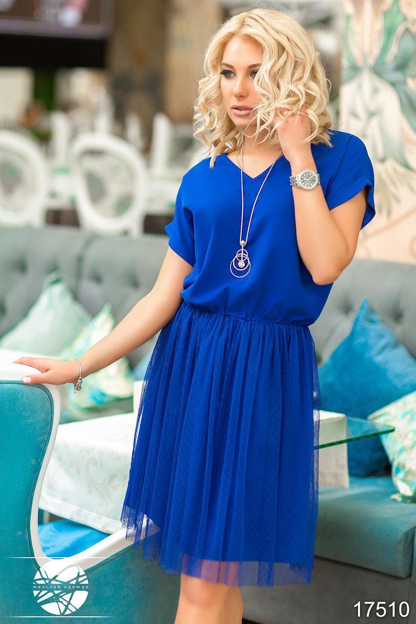 9f316331642 Женственное летнее платье синего цвета с коротким рукавом. Модель 17510.  Размеры 42-48