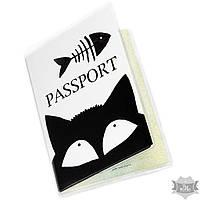 "Обложка на паспорт ""Скелет рыбки с котом"" Andywatch"