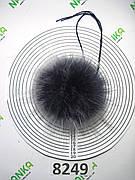 Меховой помпон Енот, Т. Синий с б\к , 14 см, 8249