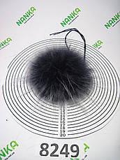 Меховой помпон Енот, Т. Синий с б\к , 14 см, 8249, фото 2