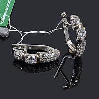Серебряные серьги Шарм с цирконием