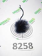 Меховой помпон Енот, Т. Синий с б\к , 4 см, 8258