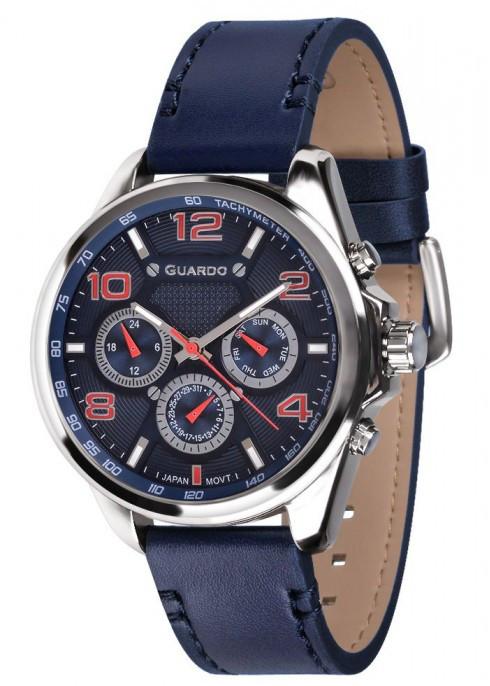Чоловічі наручні годинники Guardo P10658 SBlBl
