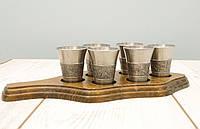 Шесть коллекционных оловянных рюмок на подставке, пищевое олово, Германия , фото 1