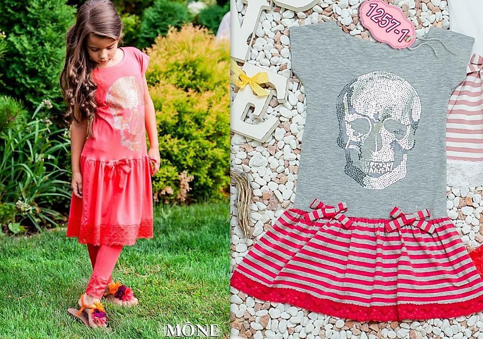Платье с черепом для девочки  ТМ МОНЕ р-ры 116