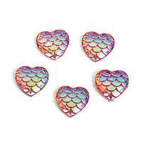 Кабошон Сердце, Смола, Рыбья чешуя, Фиолетовый перелив, 12 мм x 12 мм