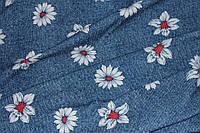Ткань кукурузка принт ромашки/джинс фон