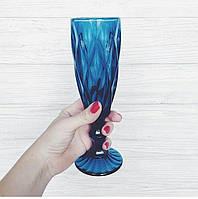 """Бокалы из цветного стекла для шампанского"""" Кубок"""" зумруд синий. Цветные бокалы ромб"""