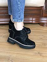 Женские кожаные туфли , женские туфли на шнуровке,модные черные женские туфли