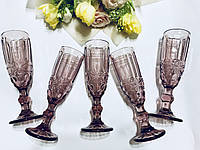 """Бокалы из цветного стекла для шампанского """" Кубок"""" аметист розовый. Цветные бокалы винтаж, фото 1"""