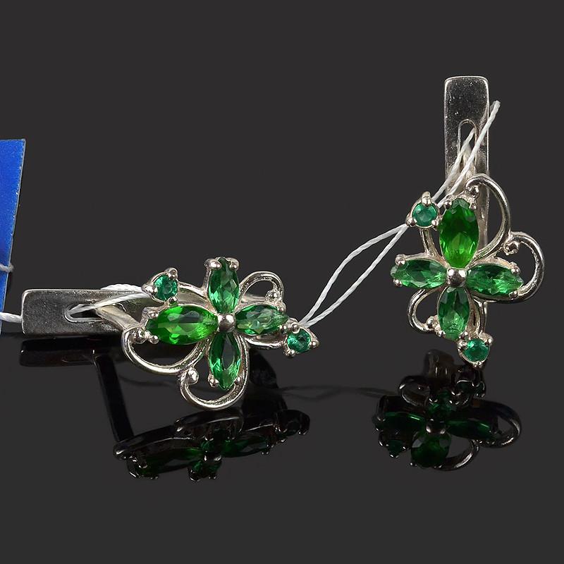 Серьги Катюша с зеленым камнем