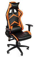Кресло офисное поворотное игровой стул Gamer DEUS EX черное с оранжевым
