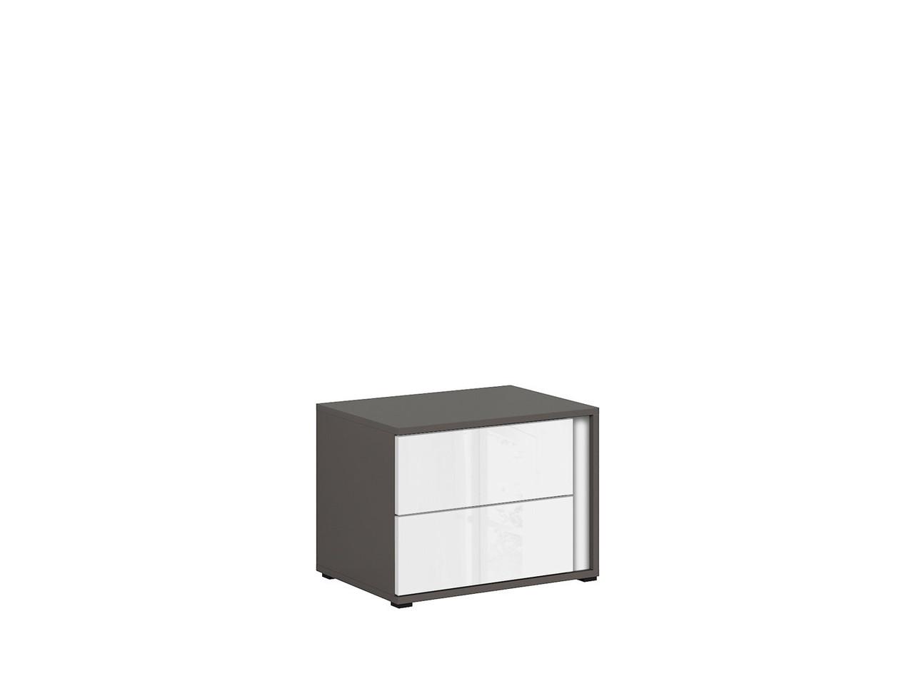 Тумба прикроватная левая KOM2SL Graphic BRW серый вольфрам/белый глянец