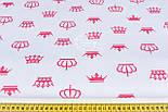 Ткань бязь с малиновыми коронами белом фоне, №1195а, фото 2