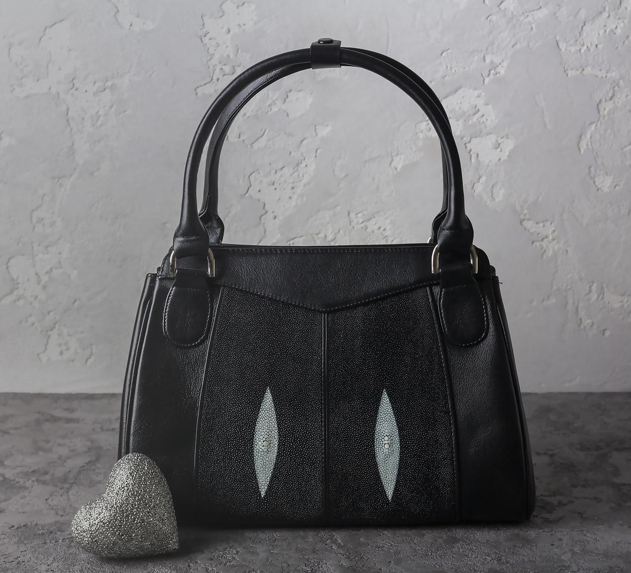 Сумка из кожи ската Ekzotic leather Черная (sb01)