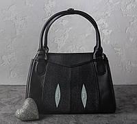 Сумка из кожи ската Ekzotic leather Черная (sb01), фото 1