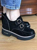 Черные кожаные женские туфли , женские туфли на липучке ,модные женские туфли