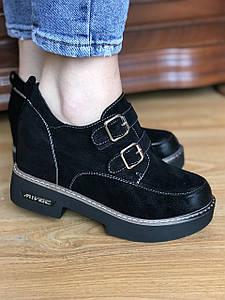 Черные кожаные женские туфли на двух Липучка