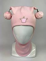Весенняя шапка-шлем для девочки 1530-1