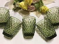 """Стаканы из цветного стекла """"Ромб"""" изумруд оливковый. Цветные стаканы, винтажные бокалы"""