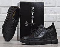 Туфли женские кожаные на платформе Fabio Monelli черные на шнуровке, Черный, 40