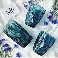 """Стаканы из цветного стекла """"Ромб"""" изумруд синий. Цветные стаканы, винтажные бокалы , фото 1"""
