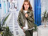 Курточка для девочки кожзам с крыльями на спине (хакки) МОНЕ р-ры 134,140,146, фото 2