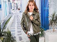 Курточка для девочки кожзам (хакки) МОНЕ р-ры 134-152