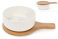 Белое сервировочное Фарфоровое блюдо многофункциональное  с крышкой подставкой из бамбука, салатница