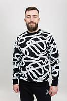 Свитшот мужской с принтом Lines Blk черно-белый (кофты мужские, свитшоты мужские)