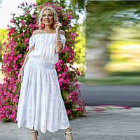 Белоснежный костюм Юбка и Блуза из натурального хлопка  011 F