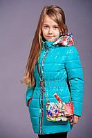 Демисезонная детская куртка «Цветы» с сумочкой на девочек 7-8 лет (р. 32-34 / 122-128 см) ТМ MANIFIK Бирюза