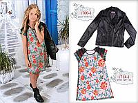 Курточка для девочки кожзам (черная) МОНЕ р-ры 134-152