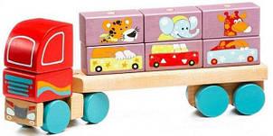 """Деревянная игрушка LM-14 (13432) """"Тягач с кубиками"""" ТМ Cubika / Royaltoys"""