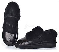 Угги женские замш с пайетками натуральный мех Classic Short Sparkles Black, Черный, 41