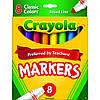 Фломастеры для рисования 8 шт.  Crayola Non-Washable Markers, Broad Point, Classic Colors, 8/Set (58-7708)