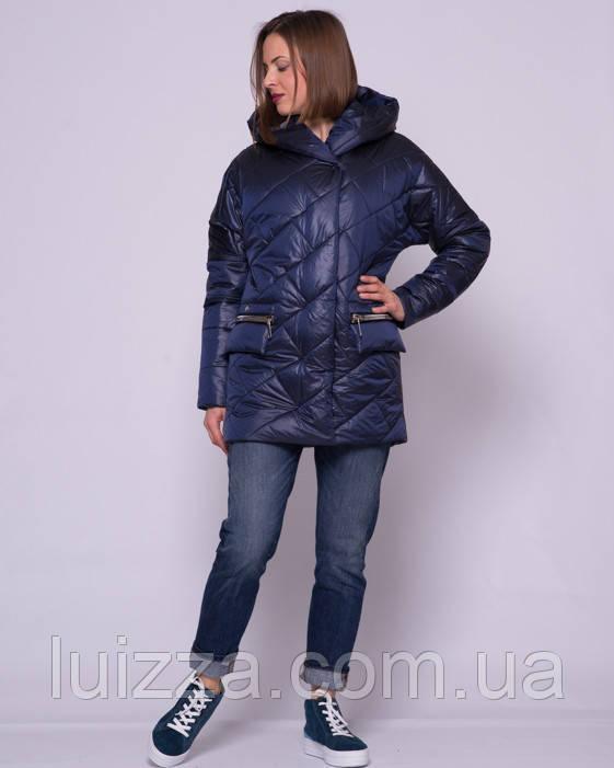 Женская стеганая куртка из атласа 44-56р синий 50