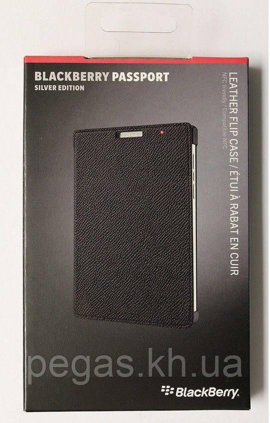Чехол Blackberry Passport Silver Edition флип кожаный черный