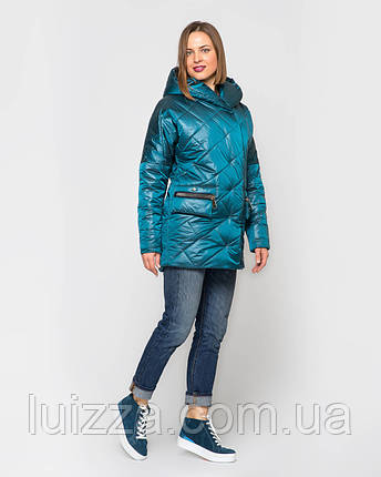 Женская стеганая куртка из атласа 44-56р изумруд 52, фото 2