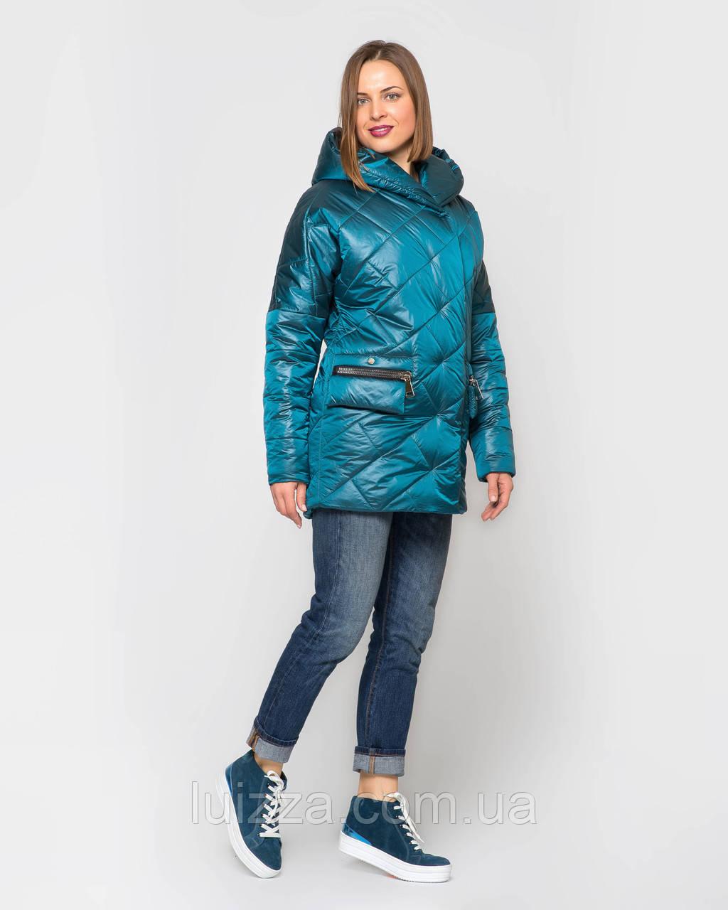 Женская стеганая куртка из атласа 44-56р изумруд 52