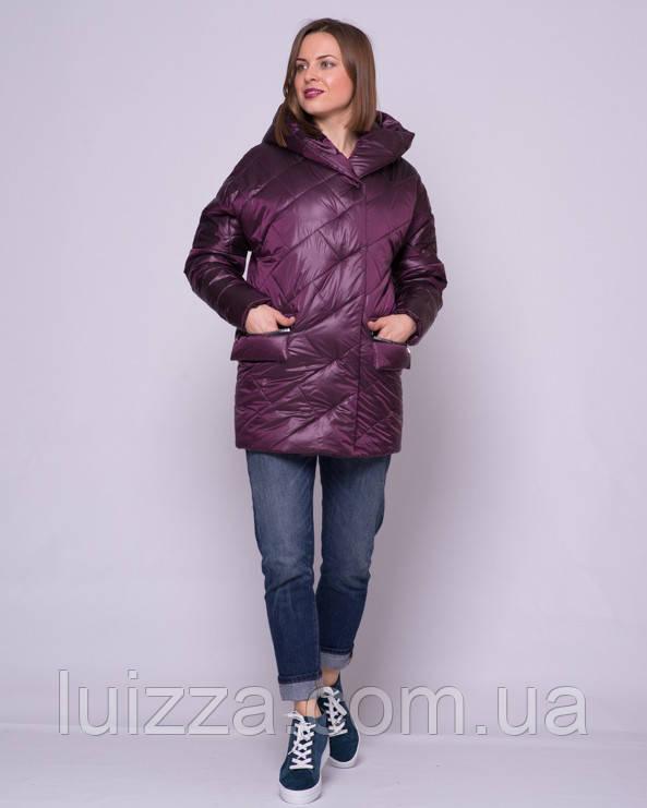Женская стеганая куртка из атласа 44-56р марсала 50