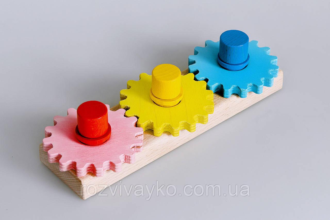 """Деревянная игрушка головоломка """"Винтики и шестеренки"""""""