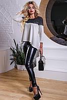 Модная кофта-туника расширенная к низу с кружевом 44-50 размера, фото 1