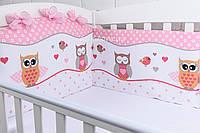 """Бортики в кроватку """"Совы"""" розового цвета №207"""