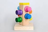 """Деревянная игрушка пирамидка """"Винтики и шайбочки"""" в коробке"""
