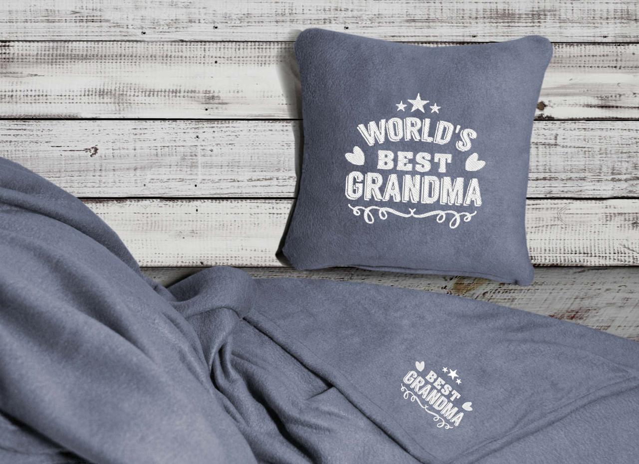 """Набор: подушка + плед """"World's Best Grandma"""" 06 цвет на выбор"""