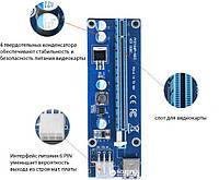 Адаптер-райзер PCI-E x1 to 16x, 60 см USBCable, 6pin
