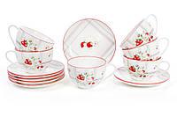Чайный набор Земляничная фантазия: 6 фарфоровых чашек 210мл с блюдцами BonaDi 940-131